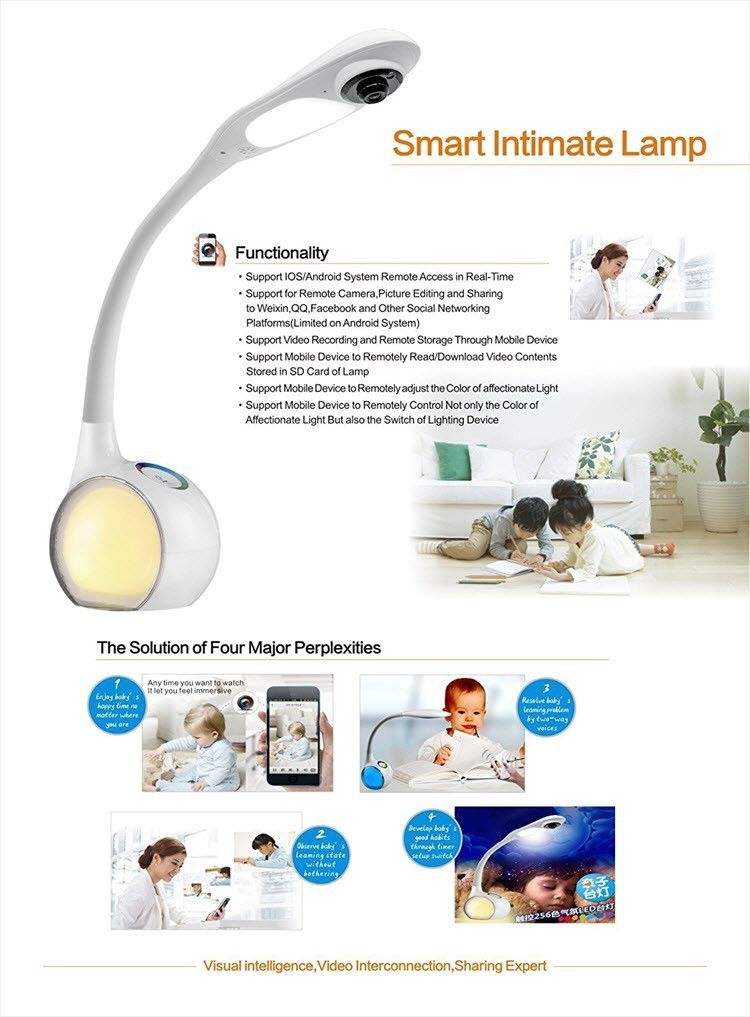 Wifi Desk, Table Lamp Camera - Remote Viewing - For Children or Baby Monitoring - 6