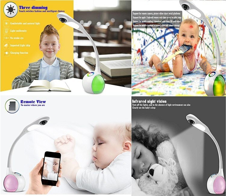 Wifi Desk, Table Lamp Camera - Remote Viewing - For Children or Baby Monitoring - 8