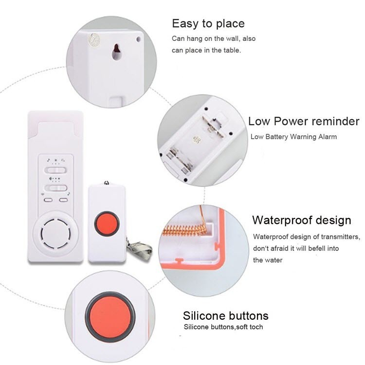 Wireless Emergency Care Alarm Call Button Alert System -500+ft Operating Range (2 in 1) - 4