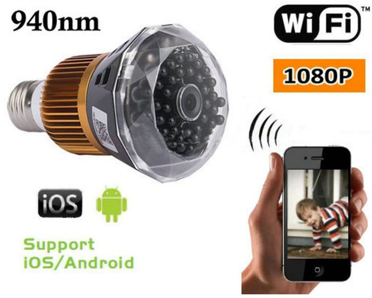 1080P WIFI IP Bulb Igwefoto DVR, 940nm - 1