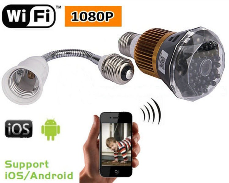 1080P WIFI IP Bulb Camera DVR, 940nm - 2