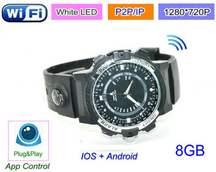 WIFI Watch Camera, P2P, IP, Video 1280720p, App Control - 1