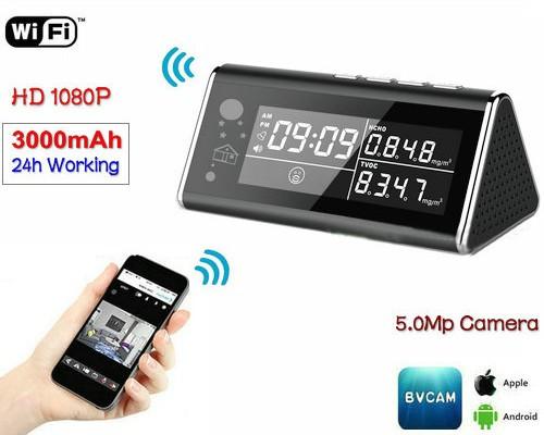Aerial Detector WIFI Clock Camera, 5.0MP,1080P,H.264 - 1
