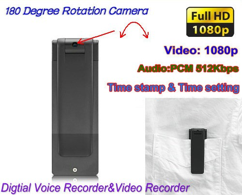 Digital Voice & Video Recorder, Video 1080p, Voice 512kbps, 180 Deg Rotation (SPY106)