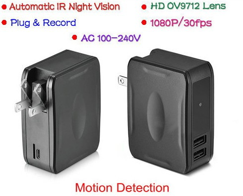 Wall Charger Camera DVR, 1080P,Plug & Record, Automatic IR Night Vision - 1