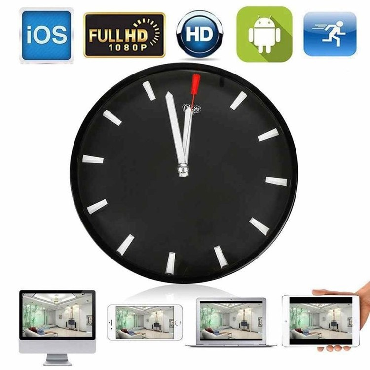 1080P WIFI P2P Spy Hidden Camera Wall Clock Video Recorder Motion Detection - 1