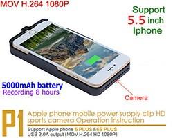 Iphone Power Case Camera, H.264 1080P, 5000mAh battery, TF 128G - 1 250px