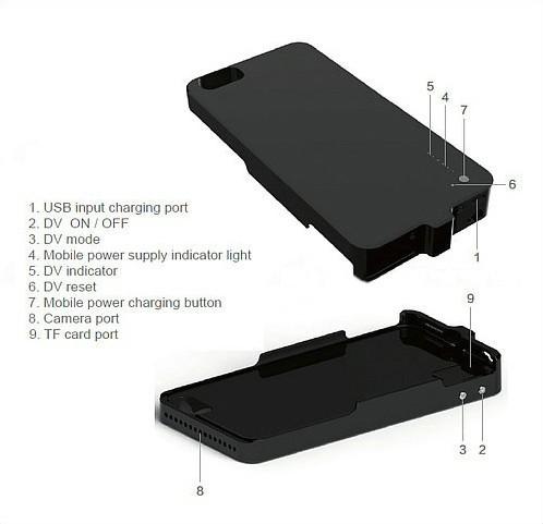 Iphone Power Case Camera, H.264 1080P, 5000mAh battery, TF 128G - 8