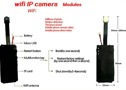 WIFI DIY Camera Module, 1280x720p, H.264, iPhone, Android, PC - 3