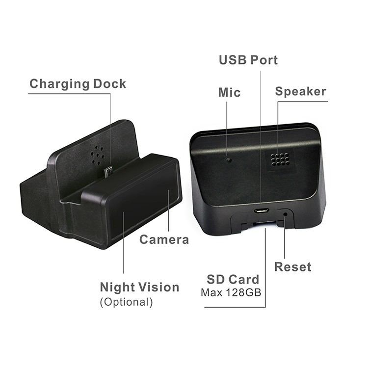 Wireless Wifi Spy Charging Dock Camera, Night Vision - 5