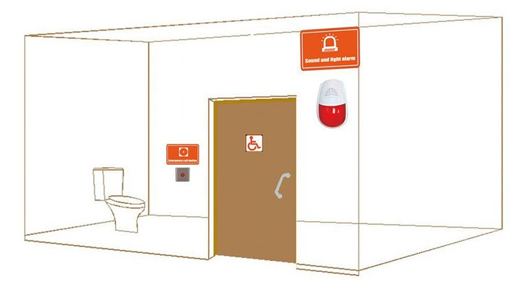 Water Resistance Public Toilet Sound and Light Alarm System - 5