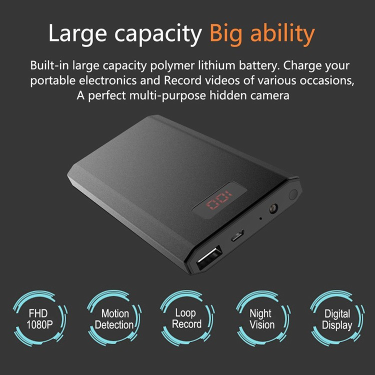 HD 1080P 10000mAh Portable Power Bank Camera, Continuously record for 20Hrs - 7