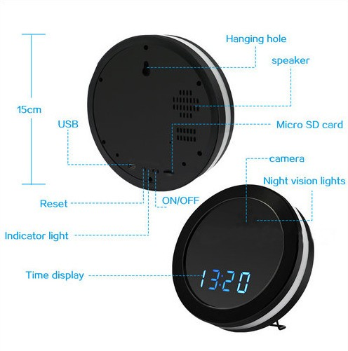 Night Mirror WIFI Clock Camera, Two Way Talk, Super Nightvision - 6