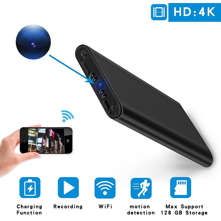4K WIFI Power Bank Camera, SD Card Max 128G, Night Vision - 1