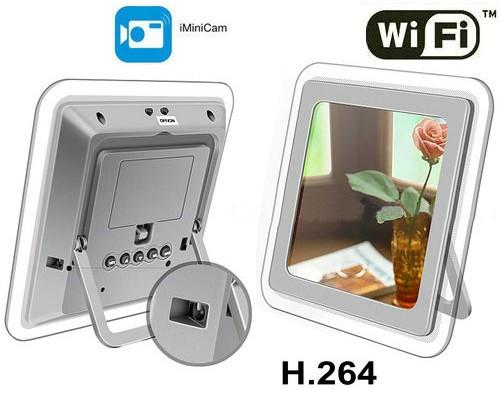 1080P H.264 WIFI Mirror Clock Camera, APP Control, TF Card, Motion Detection - 2