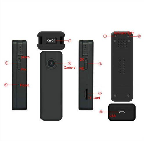 2K Mini Body Worn Camera, 2304x1296p, H.264, SD Card Max 128GB - 7