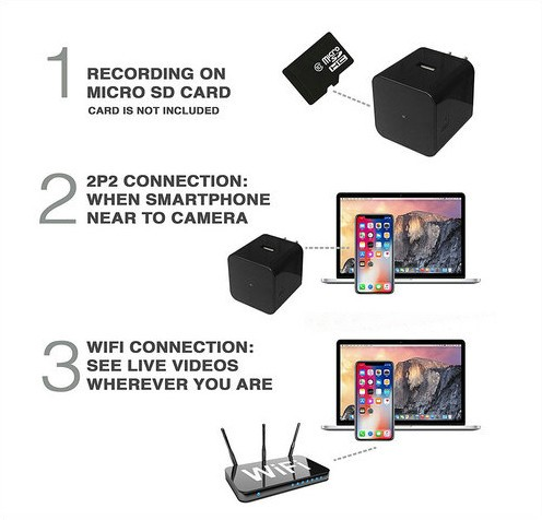 Super Nightvision WIFI Charger Camera, 1080P, 120 degree Camera, Super Nightvision - 8