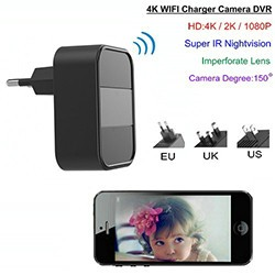 4K WIFI Charger Camera, Nightvision, HD4K,2K,1080P, SD Max 64G - 1 250px
