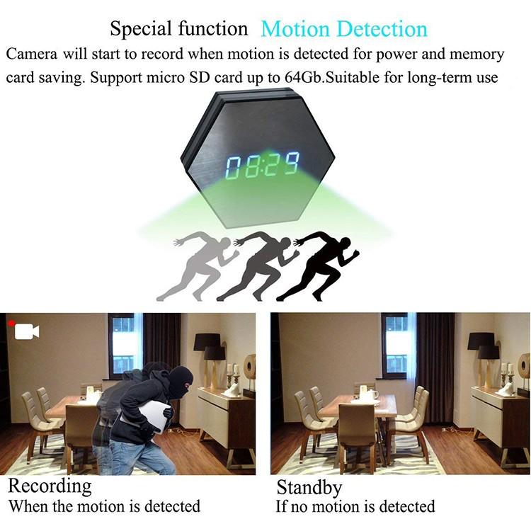 Hexagon Shape Wall Desk Table Clock Hidden Spy Camera - 4