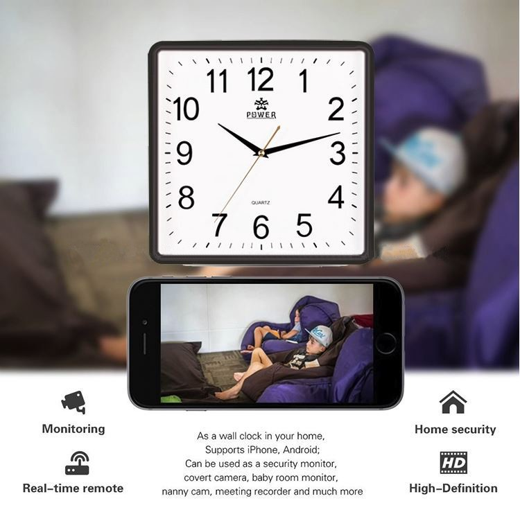 Square Wall Clock Spy Hidden Camera - 1