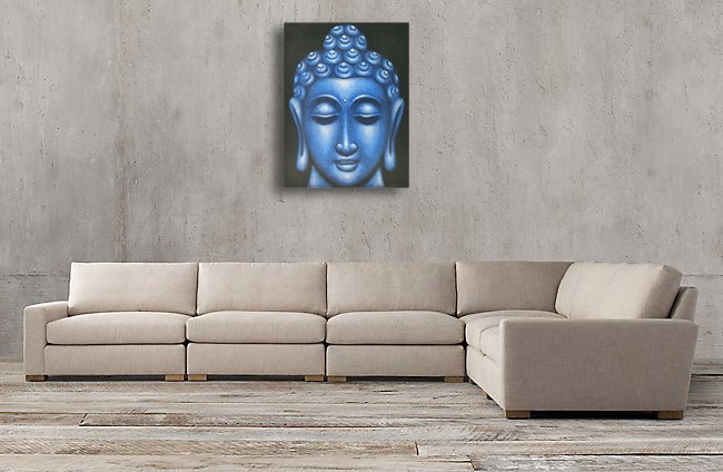 Blue Buddha Face - Oil Paint Spy Hidden Camera, 36 Hrs recording - sofa2