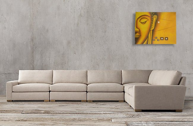 SPY232E - Yellow Buddha Face Oil Paint Spy Hidden Camera - sofa