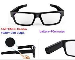 Spectacles Spy Camera DVR,5.0MP CMOS1080P30fps 120Degree - 1 250px