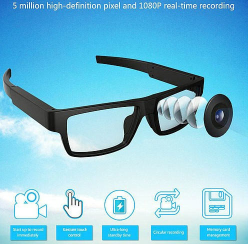 Spectacles Spy Camera DVR,5.0MP CMOS1080P30fps 120Degree - 5