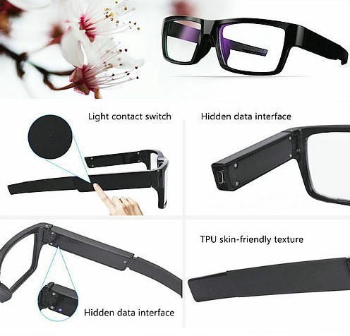 Spectacles Spy Camera DVR,5.0MP CMOS1080P30fps 120Degree - 7