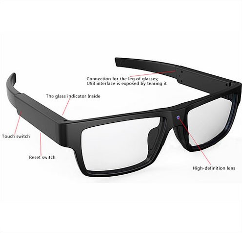 Spectacles Spy Camera DVR,5.0MP CMOS1080P30fps 120Degree - 8