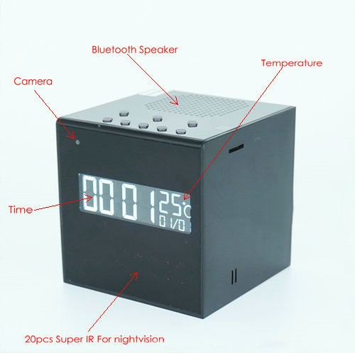 Bluetooth Speaker Clock WIFI Camera, Super Nightvision - 3