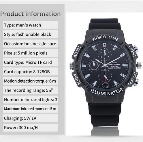 WIFI SPY Watch Ilaalinta Qarsoon, SDCard Max 128G, Nightvision - 7