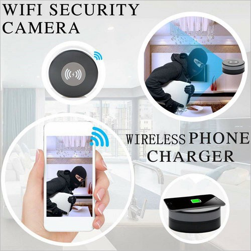 Wireless Charger WIFI Hidden SPY Camera, 180 Deg Rotation Lens - 3