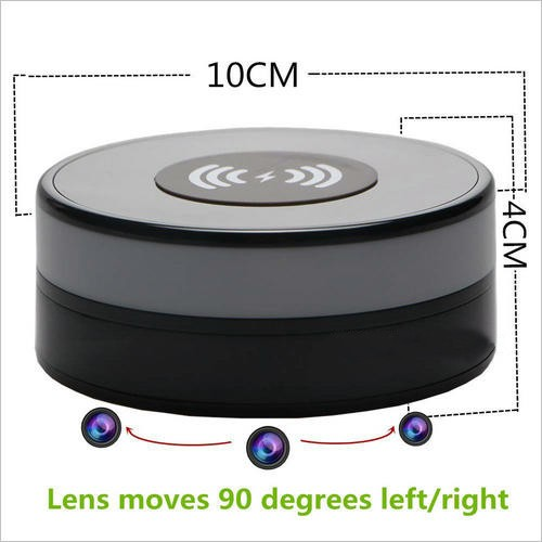 Wireless Charger WIFI Hidden SPY Camera, 180 Deg Rotation Lens - 4