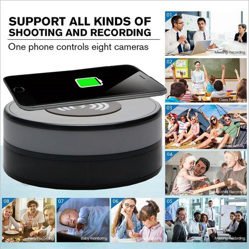 Wireless Charger WIFI Hidden SPY Camera, 180 Deg Rotation Lens - 5
