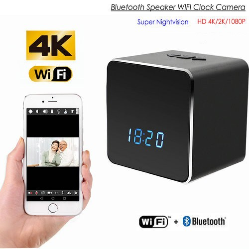 Hidden Spy Camera WIFI Bluetooth Speaker Clock, Nightvision - 1