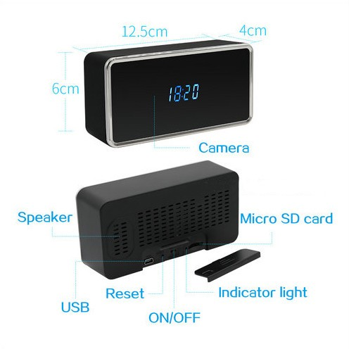 Rectangular WIFI Clock Camera, 128G - 5