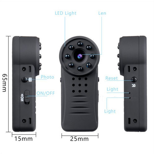 Clip WIFI SPY Hidden Wide Lens Camera, Nightvision, SD Max 64G, batterija 300mAh - 2