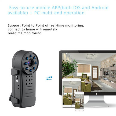 Clip WIFI SPY Versteekte Wide Lens Camera, Nightvision, SD Max 64G, 300mAh battery - 3