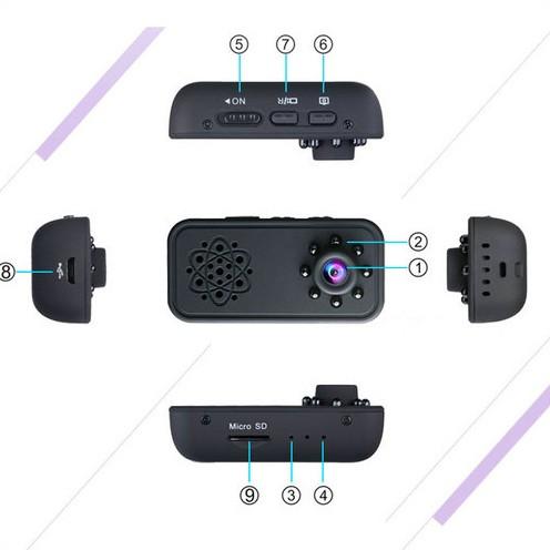 HD SPY skrita mini kamera, Super Nightvision, zaznavanje gibanja, baterija 3Hrs - 4