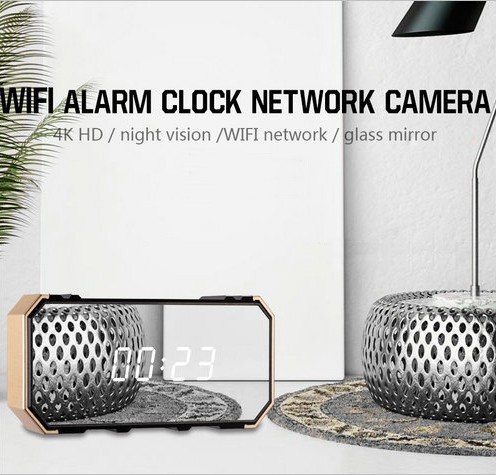 4K Mirror Clock Camera, HD4K2K1080P, 8pcs IR For Nightvision, SD Card Max 128G - 3