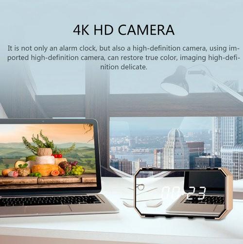 4K Mirror Clock Camera, HD4K2K1080P, 8pcs IR For Nightvision, SD Card Max 128G - 6