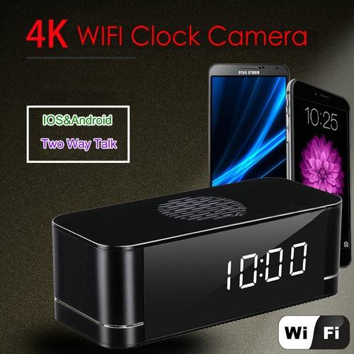 4K WIFI Clock Camera, Built Speaker Two Way Talk, 3000mAh Battery - 5
