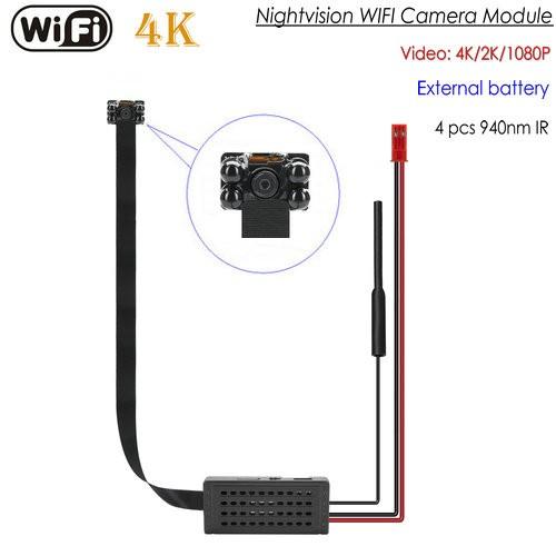 4K WIFI SPY Pinhole SPY Hidden Camera with Night Vision, SD Card Max 128G - 1