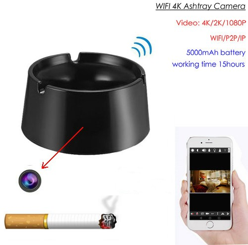 WIFI Ashtray Camera, 4K2K1080P Battery Working Time 18hours, SD Card Max 128GB - 1