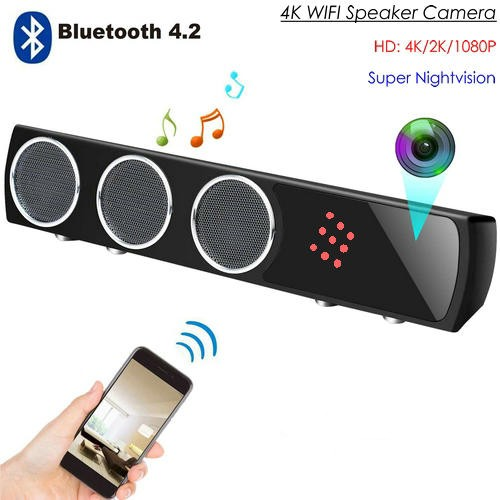 WIFI Bluetooth Speaker SPY Hidden Camera, HD 4K2K1080P, Super Nightvision - 1