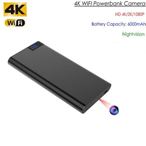 4K WIFI Powerbank Camera, Nightvision, SD Card Max 128GB, 6000mAh Battery - 1