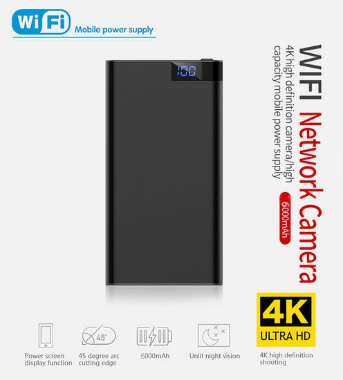 4K WIFI Powerbank Camera, Nightvision, SD Card Max 128GB, 6000mAh Battery - 4