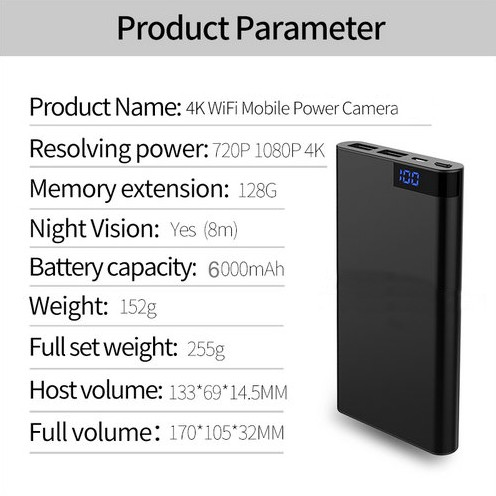 4K WIFI Powerbank Camera, Nightvision, SD Card Max 128GB, 6000mAh Battery - 5