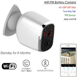 Long Battery Life WIFI Camera, HD720P, H.264, Nightvision - 1 250px